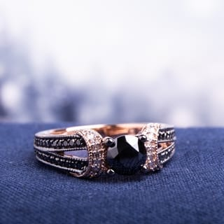 Miadora 10k Rose Gold 1ct TDW Black and White Diamond Split Shank Engagement Ring|https://ak1.ostkcdn.com/images/products/9103310/Miadora-10k-Rose-Gold-1ct-TDW-Black-and-White-Diamond-Ring-H-I-I2-I3-P16290564.jpg?impolicy=medium