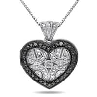 Miadora Sterling Silver Black Diamond Accent Heart Locket Necklace