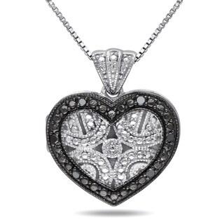 Miadora Sterling Silver Black Diamond Accent Heart Locket Necklace