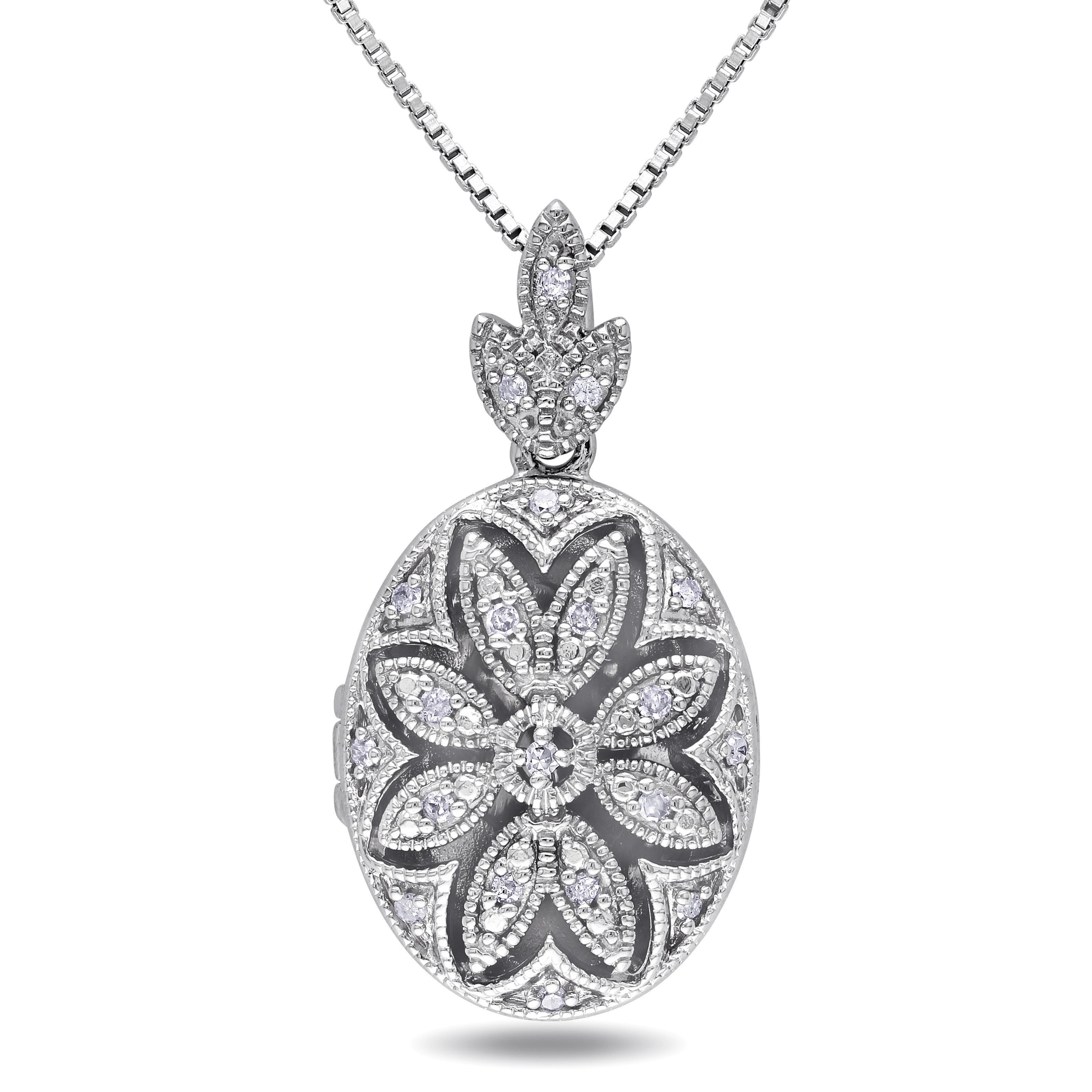 Miadora Sterling Silver Vintage Diamond Locket Necklace