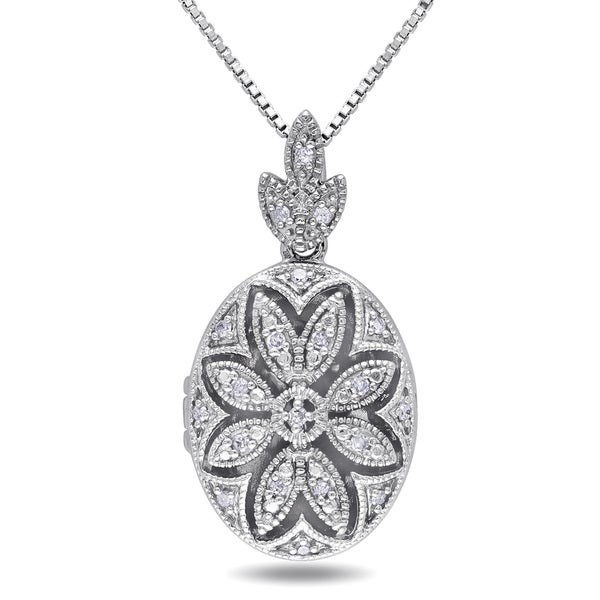 Miadora Sterling Silver Vintage Diamond Locket Necklace
