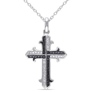 Miadora Sterling Silver 1/5ct TDW Black and White Diamond Cross Necklace (K-L, I2-I3)