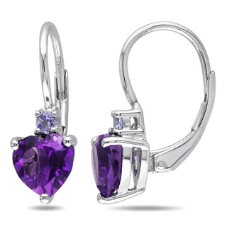 Miadora Sterling Silver Amethyst and Tanzanite Heart Earrings