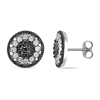 Miadora Sterling Silver Black and White Cubic Zirconia Halo Earrings