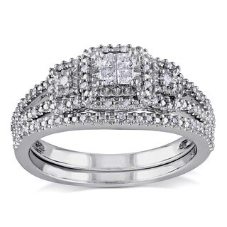 Miadora Sterling Silver 1/4ct TDW Diamond Bridal Ring Set (More options available)
