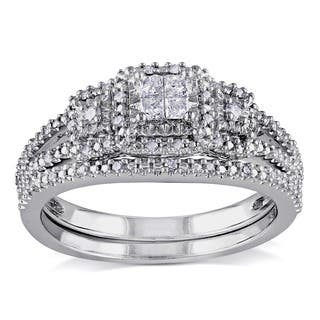 miadora sterling silver 14ct tdw diamond bridal ring set - Sterling Silver Diamond Wedding Rings
