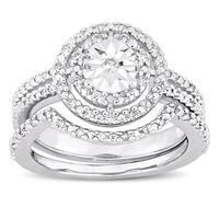 Miadora Sterling Silver 1/4ct TDW Diamond Bridal Ring Set