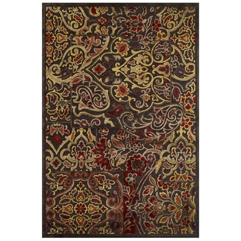"Grand Bazaar Viscose Granada Area Rug in Dark Chocolate/ Rust - 9'8"" x 12'7"""