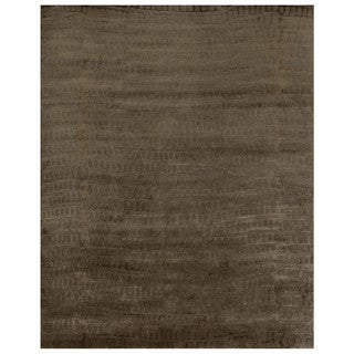 Grand Bazaar Hand-knotted Wool and Art Silk Radiance Area Rug in Slate (7'9 x 9'9)