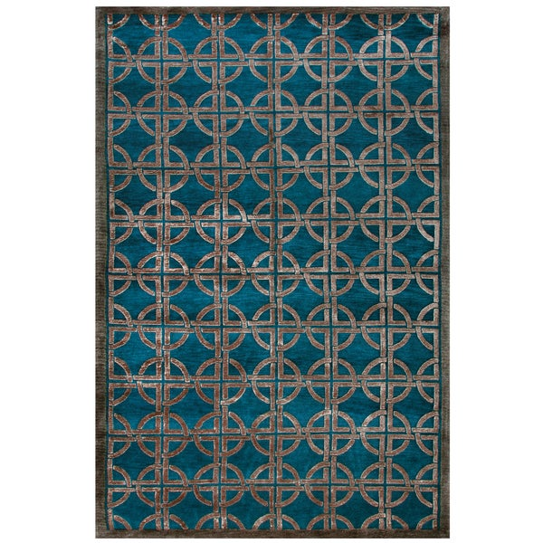 """Grand Bazaar Hand-knotted Wool and Viscose Tao Rug in Azure (7'9 x 9'9) - 7'9"""" x 9'9"""""""
