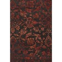 Grand Bazaar Tufted Wool Pile Beloha Rug in Chocolate/ Red - 8' x 11'