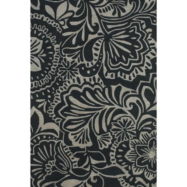 Grand Bazaar Tufted Wool Pile Terresa Rug in Grey/ Black (8' x 11') - 8' x 11'