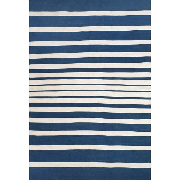Grand Bazaar Hand Woven Polyester Salta Rug in Cobalt / White (8' x 11')