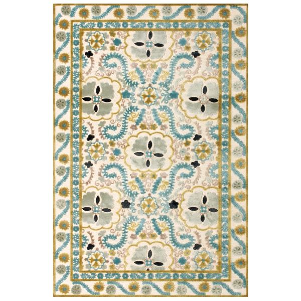 Grand Bazaar Viscose Aviv Area Rug in Cream/ Aqua (7'6 x 10'6)