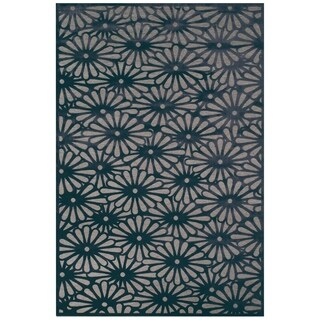 "Grand Bazaar Power Loomed Viscose Laois Rug in Gray/Charcoal 7'-6"" X 10'-6"""