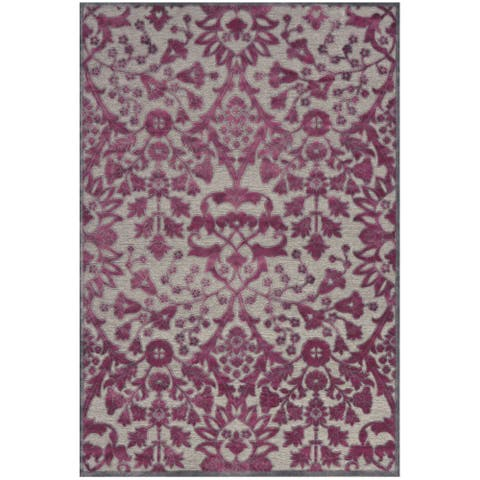 "Grand Bazaar Power Loomed Viscose Larache Rug in Pewter / Raspberry 7'-6"" X 10'-6"" - 7'6"" x 10'6"""