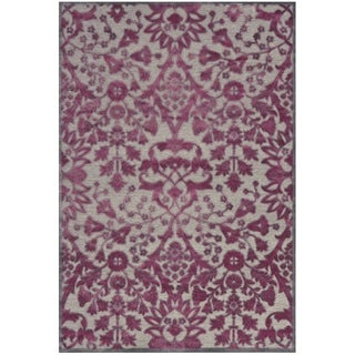 Grand Bazaar Viscose Larache Area Rug in Pewter/ Raspberry (7'6 x 10'6)