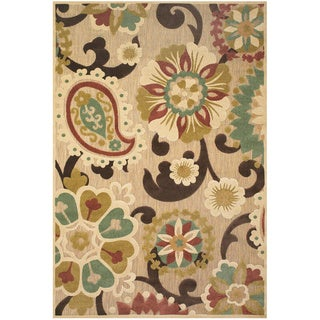"Grand Bazaar Power Loomed Polypropylene Adela Rug in Tan/Brown 7'-6"" X 10'-6"""