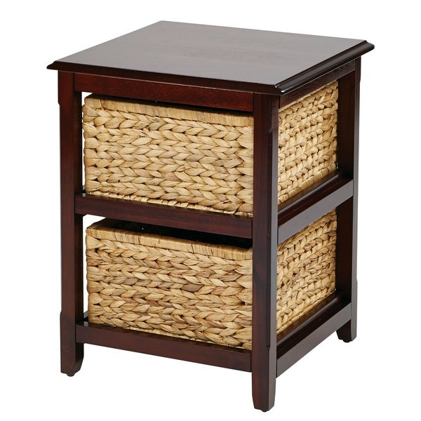 Basket Table Storage Unit W/ Dual Braided Removable Straw Grass Bins   Free  Shipping Today   Overstock.com   16290832
