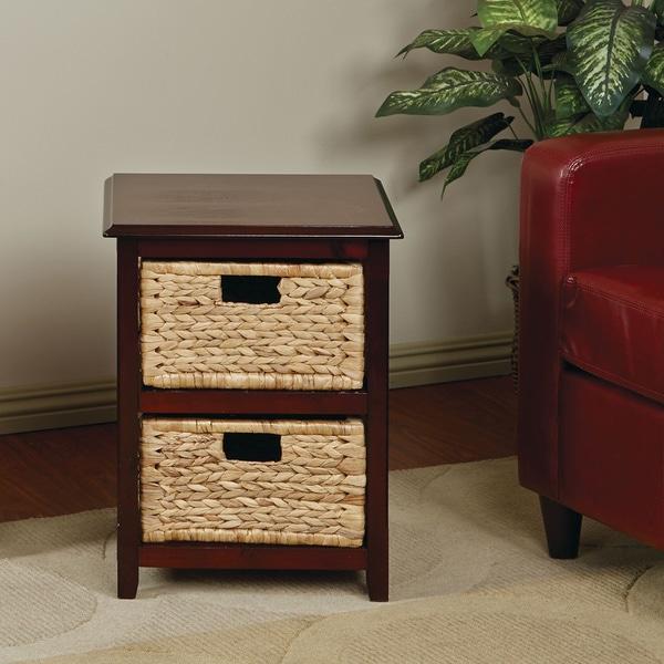 Basket Table Storage Unit W/ Dual Braided Removable Straw Grass Bins