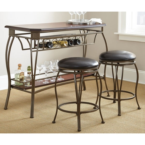 Greyson Living Guilford Wood Bar Set with Two Swivel Stools