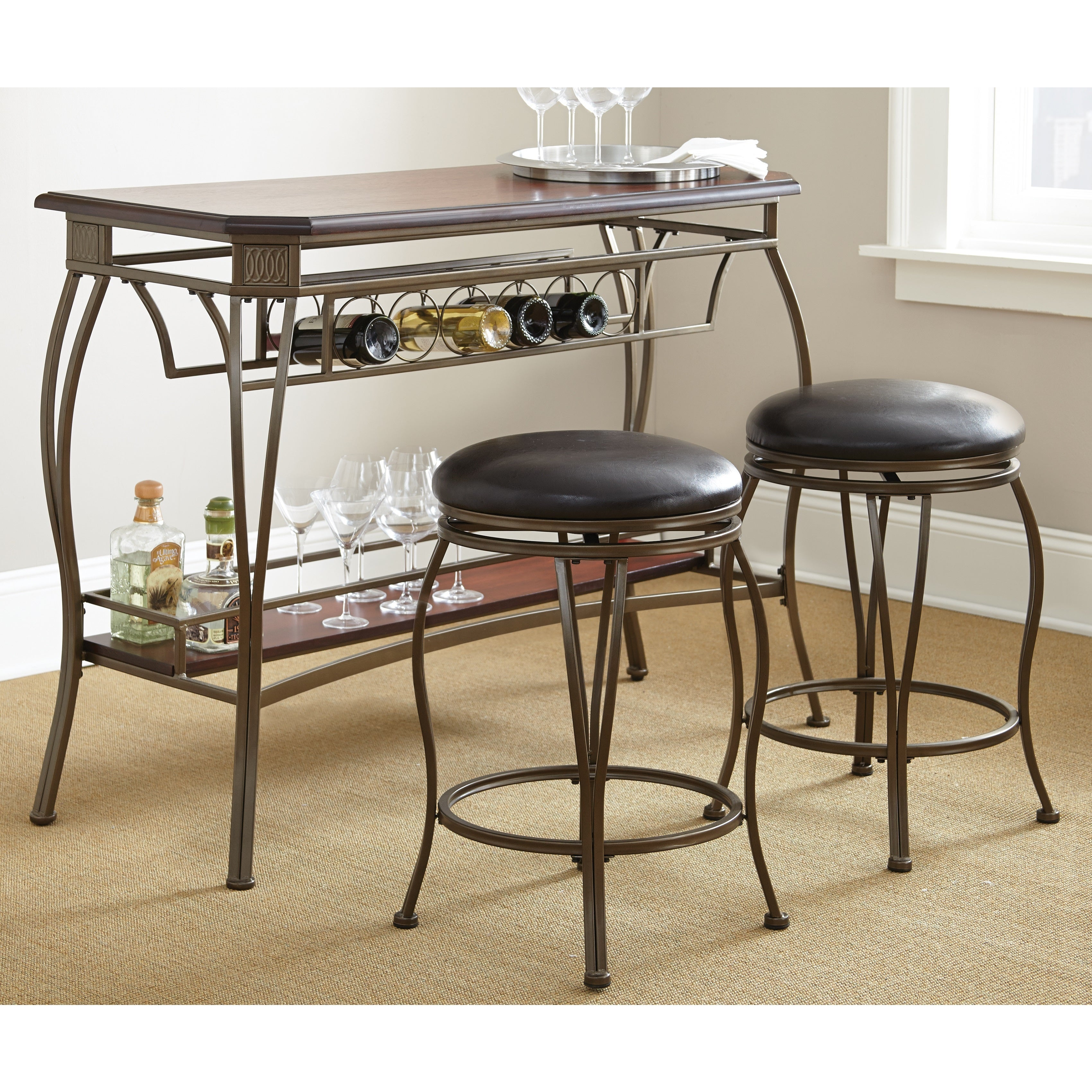 Guilford Wood Bar Set with Two Swivel Stools by Greyson L...
