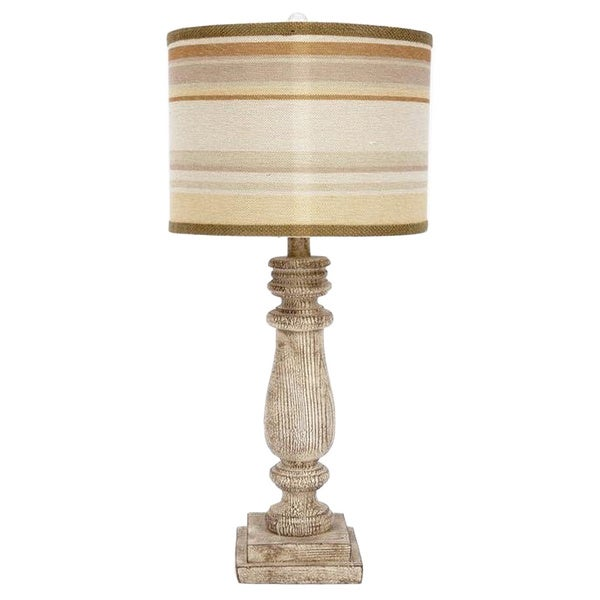 Fangio Lighting 30-inch Resin Table Lamp with Sunset Striped Designer Shade