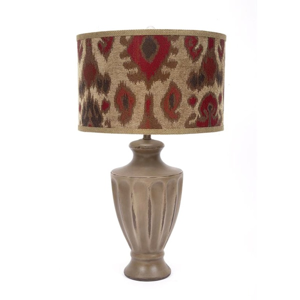 Fangio Lighting 28-inch Ceramic Table Lamp with Designer Tribal Shade