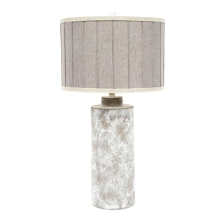 Fangio Lighting 29-inch Ceramic Table Lamp with Striped Designer Shade