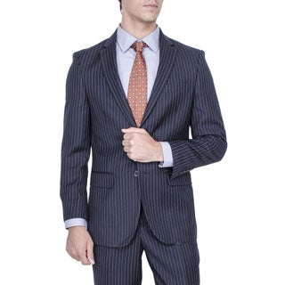 Men's Modern Fit Navy Blue Striped 2-button Suit
