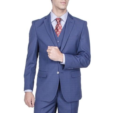 Men's Modern Fit Blue Birds-eye 2-button Vested Suit