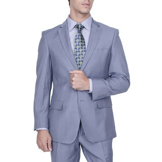 Men's Modern Fit Blue Herringbone Stripe 2-button Suit