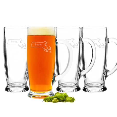 Personalized Home State Craft Beer Mugs (Set of 4)