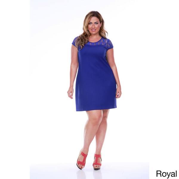 Shop White Mark Women\'s Plus Size Lace Cut-out Dress - Free ...