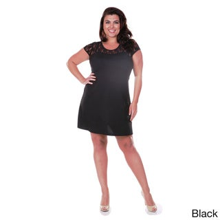 White Mark Women's Plus Size Lace Cut-out Dress