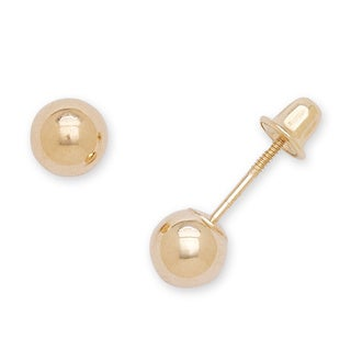 14k Yellow Gold 5mm Ball Screw-back Stud Earrings