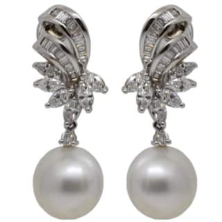 Kabella 18k White Gold South Sea Pearl & 1 7/8ct TDW Diamond Earrings (G-H, SI1-SI2)|https://ak1.ostkcdn.com/images/products/9103919/P16291043.jpg?impolicy=medium