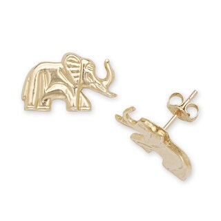 14k Yellow Gold Children's Elephant Stamping Stud Earrings