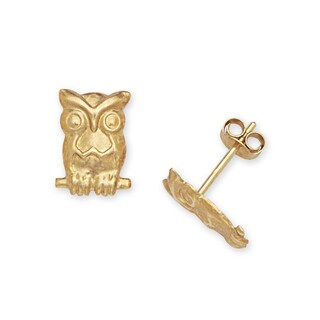 14k Yellow Gold Children's Owl Stamping Stud Earrings