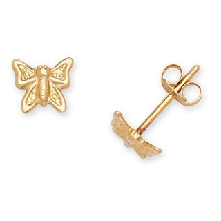 14k Yellow Gold Children's Small Butterfly Stamping Stud Earrings