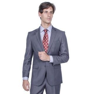 Men's Modern Fit Charcoal Grey Striped 2-button Suit
