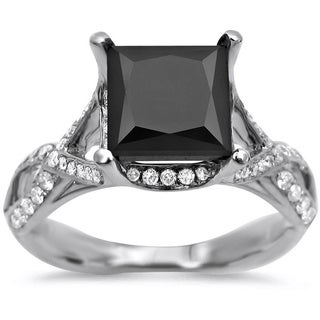 Noori 18k White Gold 2 2/5ct TDW Black Diamond Engagement Ring
