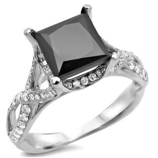 14k White Gold 2 2/5ct TDW Black Diamond Engagement Ring