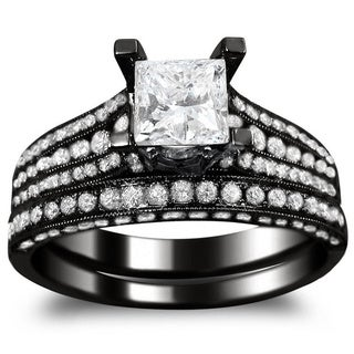 Noori 14k Black Gold 2 1/10ct TDW Princess-cut Clarity Enhanced Black and White Diamond Bridal Ring