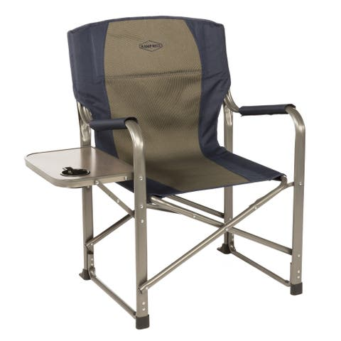 Kamp-Rite Navy Blue/Taupe Director's Chair with Side Table