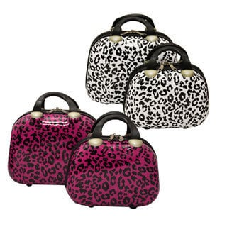 Dejuno Leopard Couture 2-piece Hardside Cosmetic Train Case Set