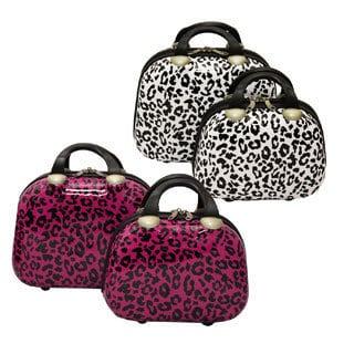 Dejuno Leopard Couture 2-piece Hardside Cosmetic Train Case Set