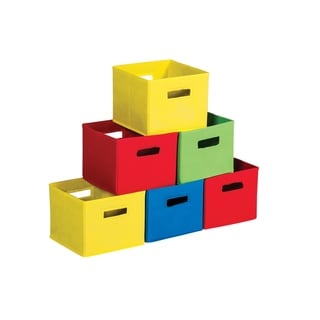 Multicolored Fabric Bins (Set of 6)