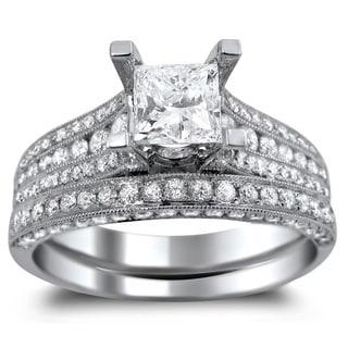 Noori 14k White Gold 2 1/10ct TDW Princess-cut Clarity Enhanced Diamond Engagement Ring Bridal Set (G-H, S