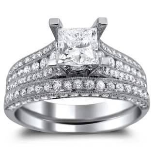 Noori 14k White Gold 2 1/10ct TDW Princess-cut Clarity Enhanced Diamond Bridal Ring Set